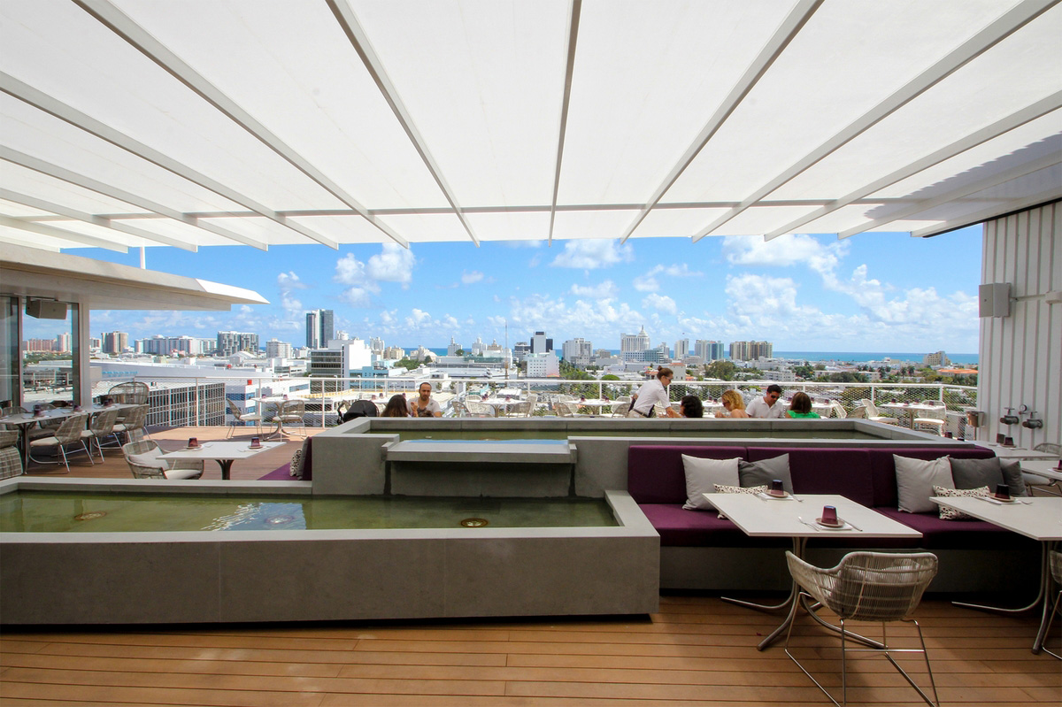 Juvia Restaurant En Fold 174 Retractable Awning By Uni Systems