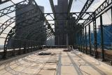 Existing steel structure prior to En-Fold® retractable canopy installation