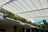 Retractable awning roof, fully extended