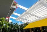 Retractable awning roof, fully retracted