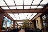 Rectractable awning at One Forty Restaurant