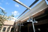 Retractable  awning at Louie Bossi's