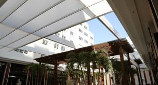 Retractable awning at Setai Hotel Courtyard