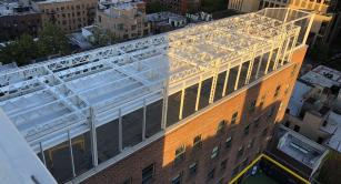 Retractable awning at 92Y