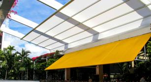 Retractable awning at Bal Harbour Shops