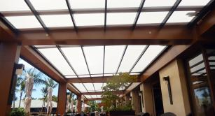 Retractable awning at One Forty Restaurant