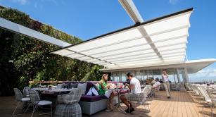 Retractable awning at Juvia Restaurant