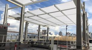 Retractable awning at Pier 17 Summer Pavilion-North Units